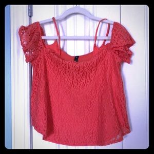 Jessica Simpson Lace Off shoulder top M